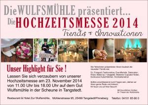 Hochzeitsmesse im Hotel Retasurant Gut Wulfsmühle am 23.11.14